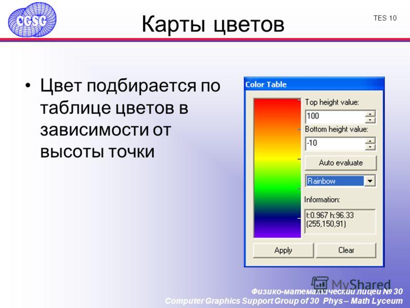Физико-математический лицей 30 Computer Graphics Support Group of 30 Phys – Math Lyceum TES 10 Карты цветов Цвет подбирается по таблице цветов в зависимости от высоты точки
