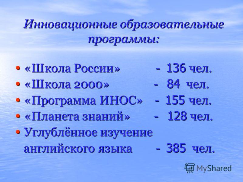 Инновационные образовательные программы: «Школа России» - 136 чел. «Школа России» - 136 чел. «Школа 2000» - 84 чел. «Школа 2000» - 84 чел. «Программа ИНОС» - 155 чел. «Программа ИНОС» - 155 чел. «Планета знаний» - 128 чел. «Планета знаний» - 128 чел.