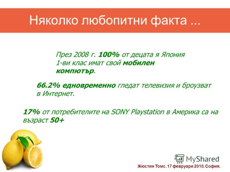 Жюстин Томс. 17 февруари 2010. София. Няколко любопитни факта... 17% от потребителите на SONY Playstation в Америка са на възраст 50+ 66.2% едновременно гледат телевизия и броузват в Интернет. През 2008 г. 100% от децата я Япония 1-ви клас имат свой