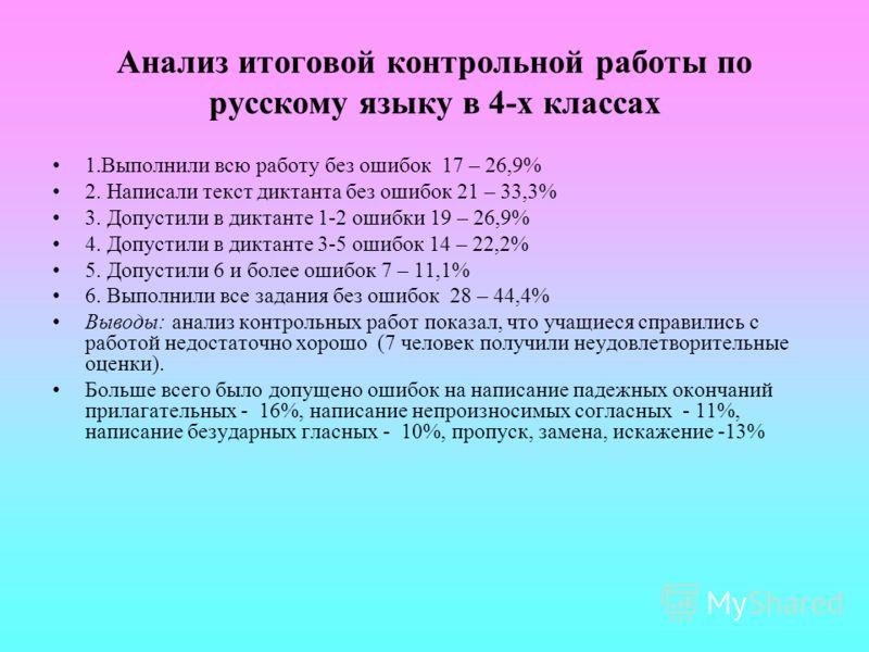 Анализ итоговой контрольной работы по русскому языку в 4-х классах 1.Выполнили всю работу без ошибок 17 – 26,9% 2. Написали текст диктанта без ошибок 21 – 33,3% 3. Допустили в диктанте 1-2 ошибки 19 – 26,9% 4. Допустили в диктанте 3-5 ошибок 14 – 22,