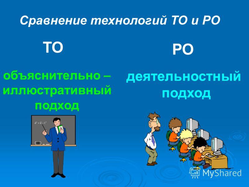 Сравнение технологий ТО и РО ТО РО объяснительно – иллюстративный подход деятельностный подход