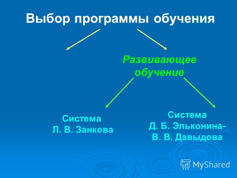 Выбор программы обучения Традиционное обучение Развивающее обучение Система Л. В. Занкова Система Д. Б. Эльконина- В. В. Давыдова