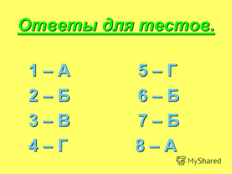 Ответы для тестов. 1 – А 5 – Г 2 – Б 6 – Б 3 – В 7 – Б 4 – Г 8 – А