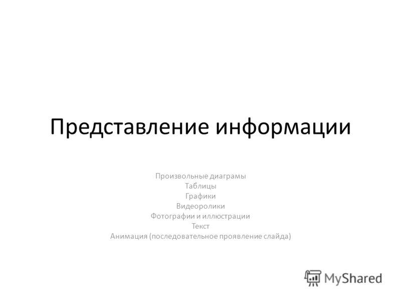 Представление информации Произвольные диаграмы Таблицы Графики Видеоролики Фотографии и иллюстрации Текст Анимация (последовательное проявление слайда)