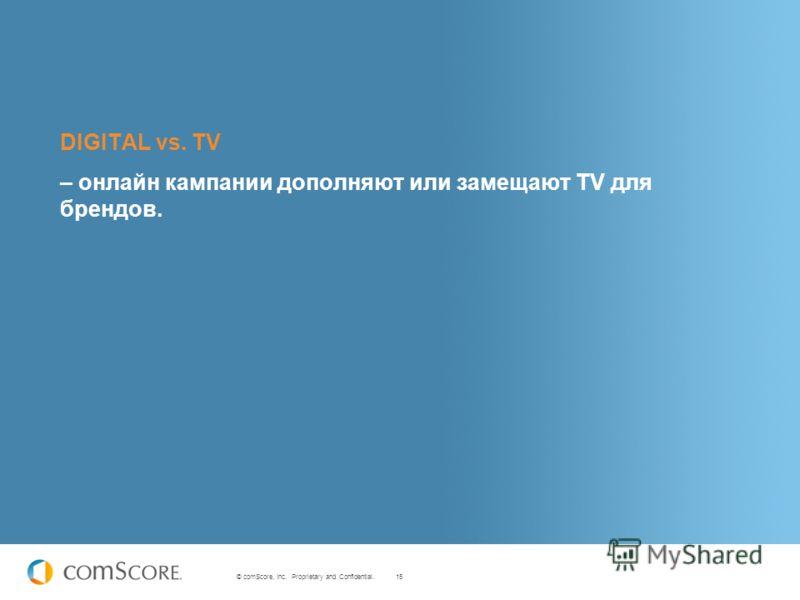 15 © comScore, Inc. Proprietary and Confidential. DIGITAL vs. TV – онлайн кампании дополняют или замещают TV для брендов.
