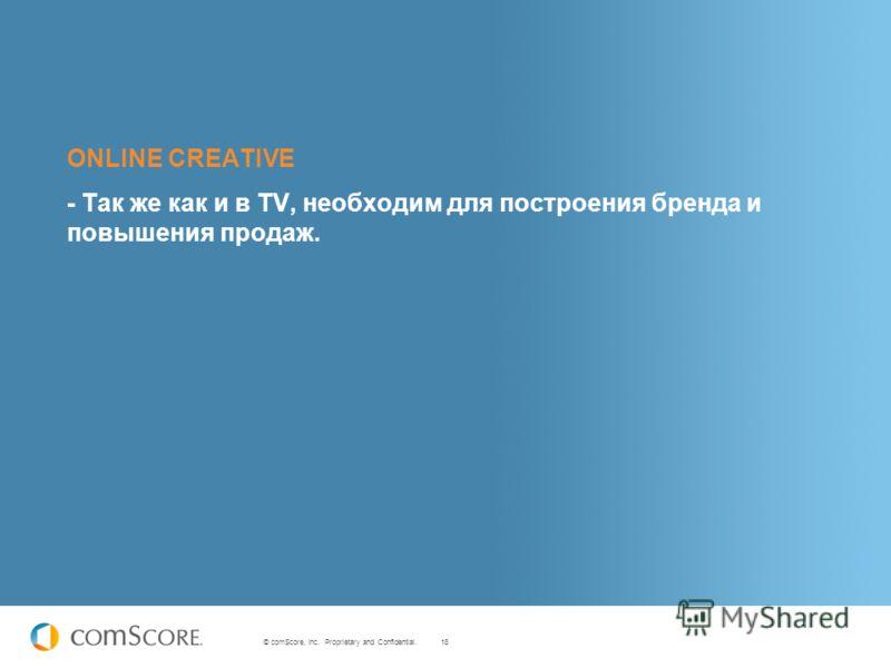 18 © comScore, Inc. Proprietary and Confidential. ONLINE CREATIVE - Так же как и в TV, необходим для построения бренда и повышения продаж.
