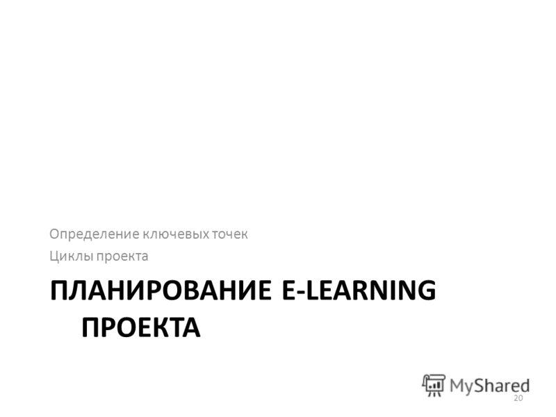 ПЛАНИРОВАНИЕ E-LEARNING ПРОЕКТА Определение ключевых точек Циклы проекта 20