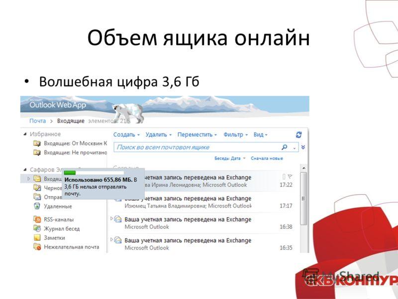 Объем ящика онлайн Волшебная цифра 3,6 Гб