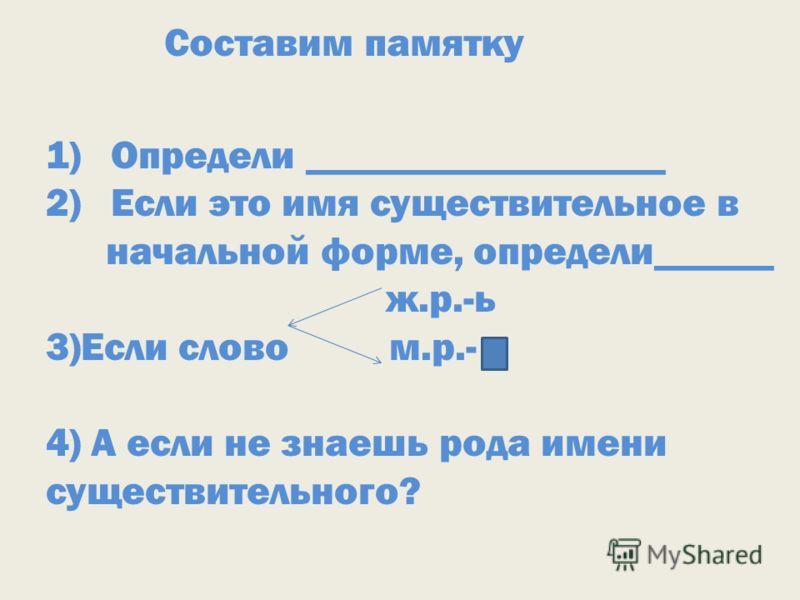 Составим памятку 1)Определи __________________ 2)Если это имя существительное в начальной форме, определи______ ж.р.-ь 3)Если слово м.р.- 4) А если не знаешь рода имени существительного?