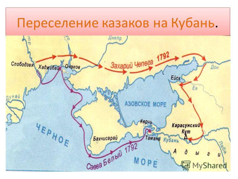 Переселение казаков на Кубань.