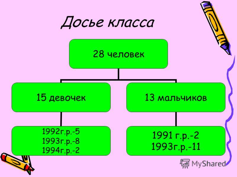 Досье класса 28 человек 15 девочек 1992г.р.-5 1993г.р.-8 1994г.р.-2 13 мальчиков 1991 г.р.-2 1993г.р.-11