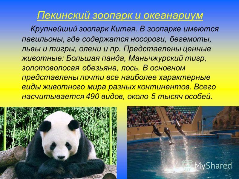 Пекинский зоопарк и океанариум Крупнейший зоопарк Китая. В зоопарке имеются павильоны, где содержатся носороги, бегемоты, львы и тигры, олени и пр. Представлены ценные животные: Большая панда, Маньчжурский тигр, золотоволосая обезьяна, лось. В основн