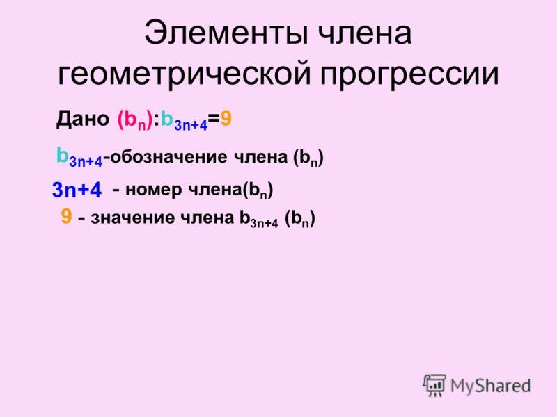 b 3n+4 3n+4 9 Дано:(b n ):b 3n+4 =9(b n ):b 3n+4 =9 b 3n+4 3n+4 9 - значение члена b 3n+4 (b n ) - обозначение члена (b n ) - номер члена(b n ) Элементы члена геометрической прогрессии
