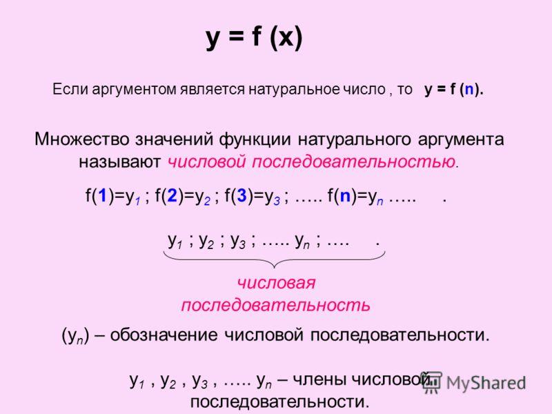 y = f (x) Если аргументом является натуральное число, тоy = f (n). Множество значений функции натурального аргумента называют числовой последовательностью. f(1)=y 1 ; f(2)=y 2 ; f(3)=y 3 ; ….. f(n)=y n …... y 1 ; y 2 ; y 3 ; ….. y n ; ….. числовая по