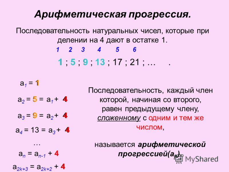 Последовательность натуральных чисел, которые при делении на 4 дают в остатке 1. 1 ; 5 ; 9 ; 13 ; 17 ; 21 ; …. 153426 1 а 1 = 1 5 а 2 = 5 = 1 + 4 1 1а1а1 9 а 3 = 9 = 5 + 4 5 5а2а2 а 4 = 13 = 9 + 4 13 9 9 а3а3 … называется арифметической прогрессией(а