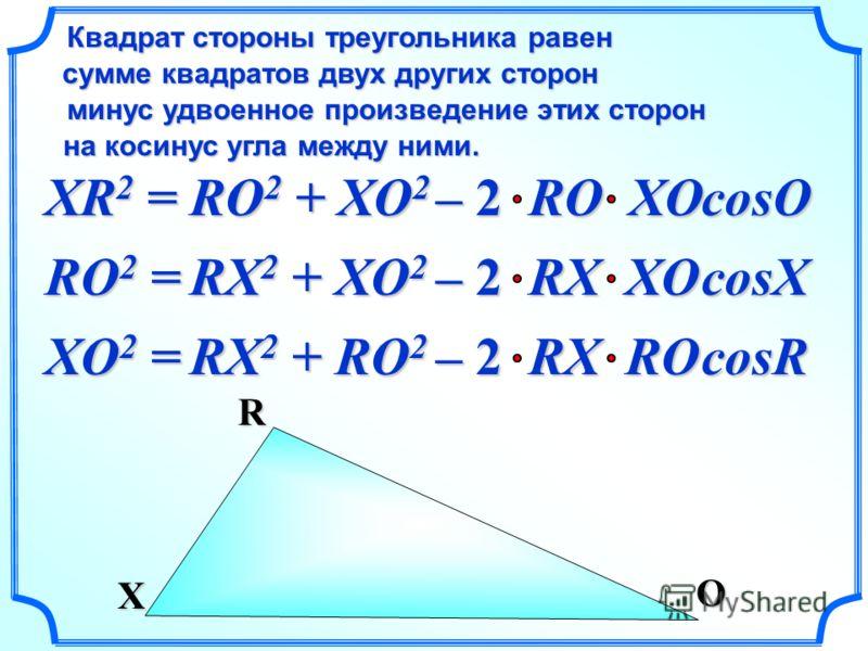 XR 2 = Квадрат стороны треугольника равен сумме квадратов двух других сторон сумме квадратов двух других сторон на косинус угла между ними. на косинус угла между ними. минус удвоенное произведение этих сторон RO 2 + XO 2 cosO O X R – 2 RO XO RO 2 = R