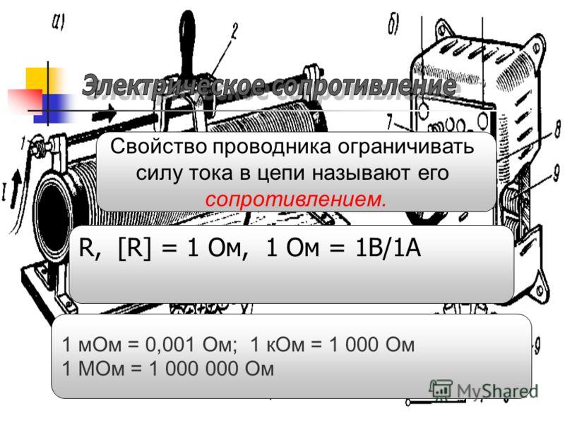 Свойство проводника ограничивать силу тока в цепи называют его сопротивлением. R, [R] = 1 Ом, 1 Ом = 1В/1А 1 мОм = 0,001 Ом; 1 кОм = 1 000 Ом 1 МОм = 1 000 000 Ом