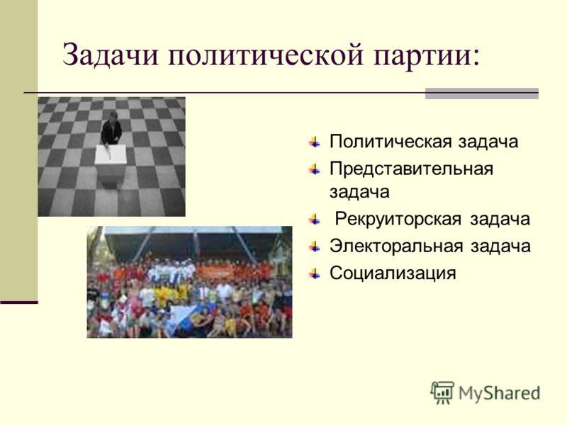 Задачи политической партии: Политическая задача Представительная задача Рекруиторская задача Электоральная задача Социализация
