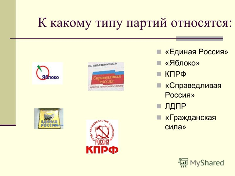 К какому типу партий относятся: «Единая Россия» «Яблоко» КПРФ «Справедливая Россия» ЛДПР «Гражданская сила»