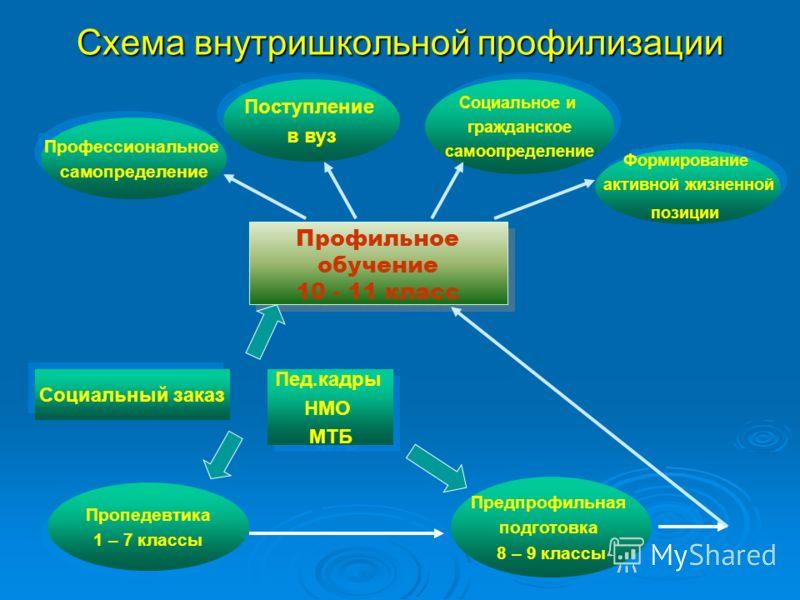 Схема внутришкольной профилизации Профильное обучение 10 - 11 класс Профильное обучение 10 - 11 класс Поступление в вуз Поступление в вуз Профессиональное самопределение Профессиональное самопределение Социальное и гражданское самоопределение Социаль