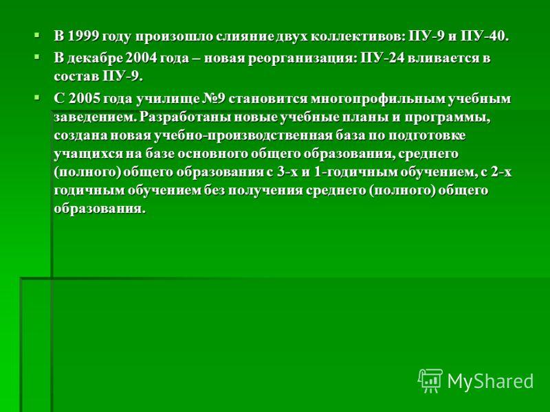 В 1999 году произошло слияние двух коллективов: ПУ-9 и ПУ-40. В 1999 году произошло слияние двух коллективов: ПУ-9 и ПУ-40. В декабре 2004 года – новая реорганизация: ПУ-24 вливается в состав ПУ-9. В декабре 2004 года – новая реорганизация: ПУ-24 вли
