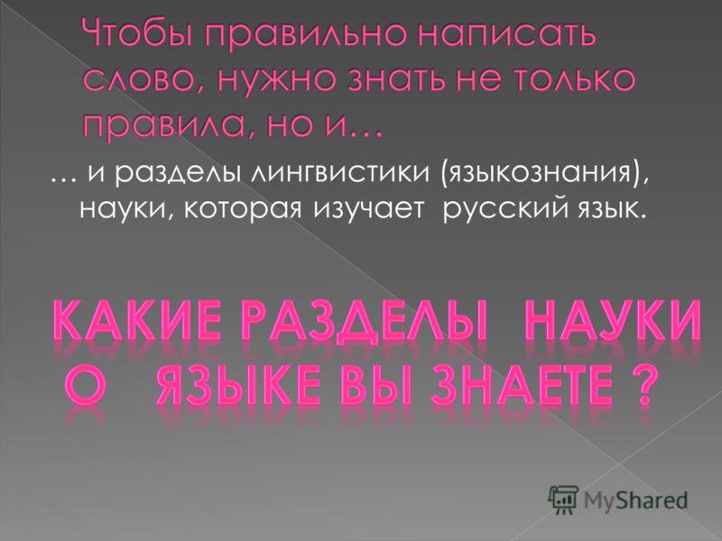 … и разделы лингвистики (языкознания), науки, которая изучает русский язык.
