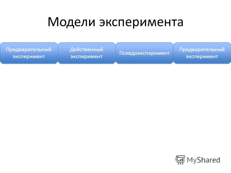 Модели эксперимента Предварительный эксперимент Действенный эксперимент Псевдоэксперимент Предварительный эксперимент
