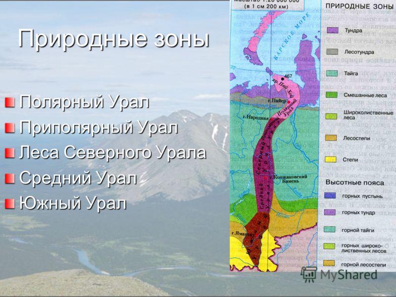 Природные зоны Полярный Урал Приполярный Урал Леса Северного Урала Средний Урал Южный Урал