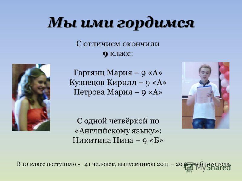 Мы ими гордимся С отличием окончили 9 9 класс: Гаргянц Мария – 9 «А» Кузнецов Кирилл – 9 «А» Петрова Мария – 9 «А» С одной четвёркой по «Английскому языку»: Никитина Нина – 9 «Б» В 10 класс поступило - 41 человек, выпускников 2011 – 2012 учебного год