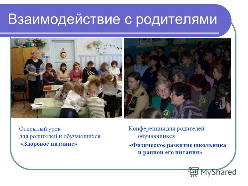 Взаимодействие с родителями Открытый урок для родителей и обучающихся «Здоровое питание» Конференция для родителей обучающихся «Физическое развитие школьника и рацион его питания»