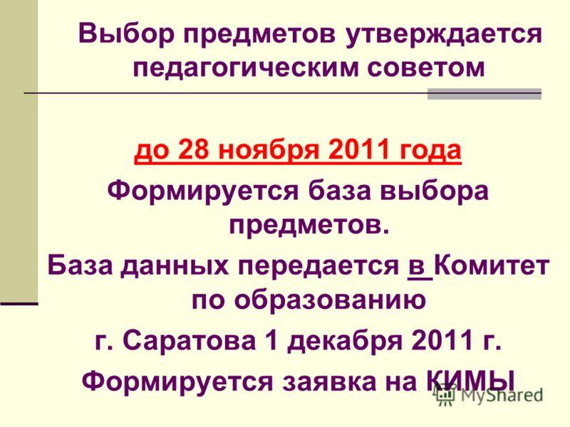 Выбор предметов утверждается педагогическим советом до 28 ноября 2011 года Формируется база выбора предметов. База данных передается в Комитет по образованию г. Саратова 1 декабря 2011 г. Формируется заявка на КИМЫ