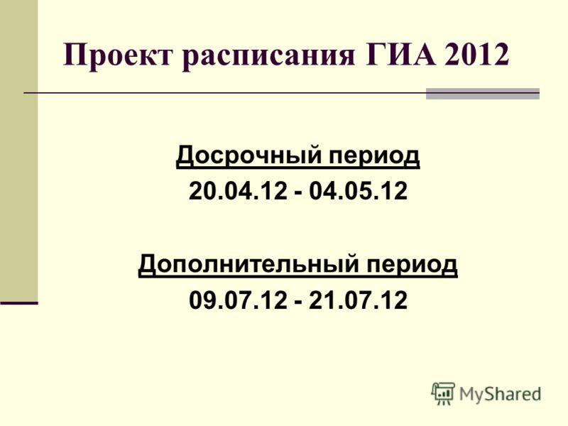 Проект расписания ГИА 2012 Досрочный период 20.04.12 - 04.05.12 Дополнительный период 09.07.12 - 21.07.12