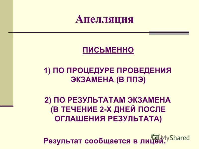 Апелляция ПИСЬМЕННО 1) ПО ПРОЦЕДУРЕ ПРОВЕДЕНИЯ ЭКЗАМЕНА (В ППЭ) 2) ПО РЕЗУЛЬТАТАМ ЭКЗАМЕНА (В ТЕЧЕНИЕ 2-Х ДНЕЙ ПОСЛЕ ОГЛАШЕНИЯ РЕЗУЛЬТАТА) Результат сообщается в лицей.