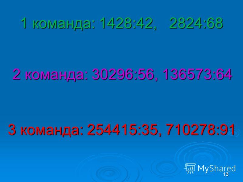 1 команда: 1428:42, 2824:68 13 2 команда: 30296:56, 136573:64 3 команда: 254415:35, 710278:91