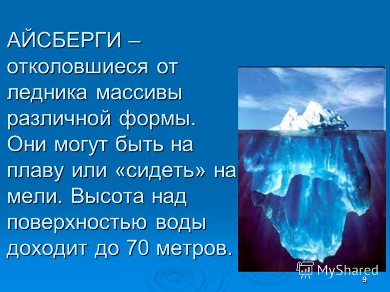 АЙСБЕРГИ – отколовшиеся от ледника массивы различной формы. Они могут быть на плаву или «сидеть» на мели. Высота над поверхностью воды доходит до 70 метров. 9