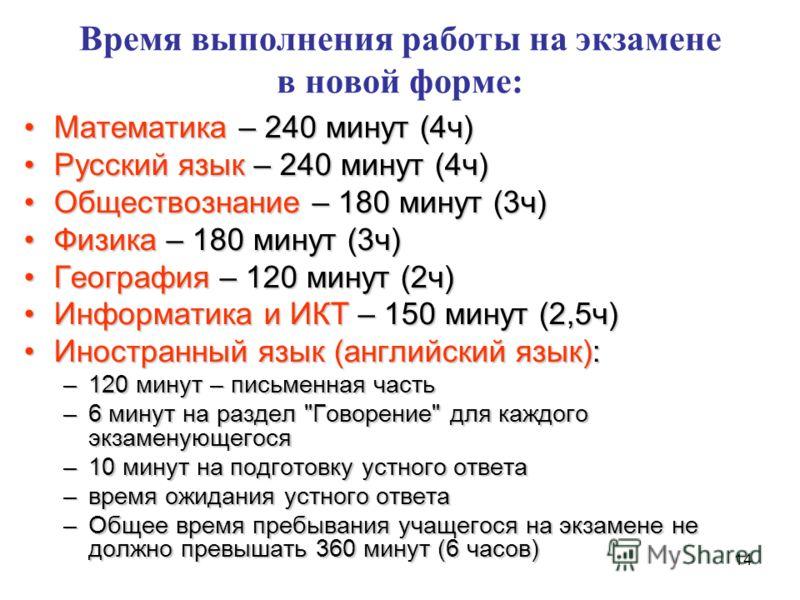 14 Время выполнения работы на экзамене в новой форме: Математика – 240 минут (4ч)Математика – 240 минут (4ч) Русский язык – 240 минут (4ч)Русский язык – 240 минут (4ч) Обществознание – 180 минут (3ч)Обществознание – 180 минут (3ч) Физика – 180 минут
