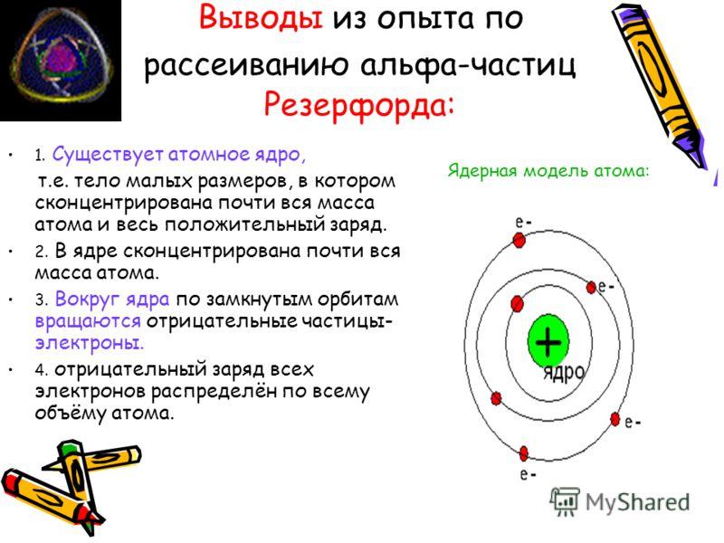 Выводы из опыта по рассеиванию альфа-частиц Резерфорда: 1. Существует атомное ядро, т.е. тело малых размеров, в котором сконцентрирована почти вся масса атома и весь положительный заряд. 2. В ядре сконцентрирована почти вся масса атома. 3. Вокруг ядр