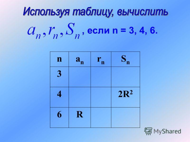 nanan rnrn SnSn 3 42R 2 6R, если n = 3, 4, 6.
