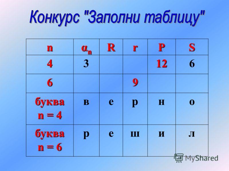 n αnαnαnαnRrPS43126 69 буква n = 4 верно буква n = 6 решил