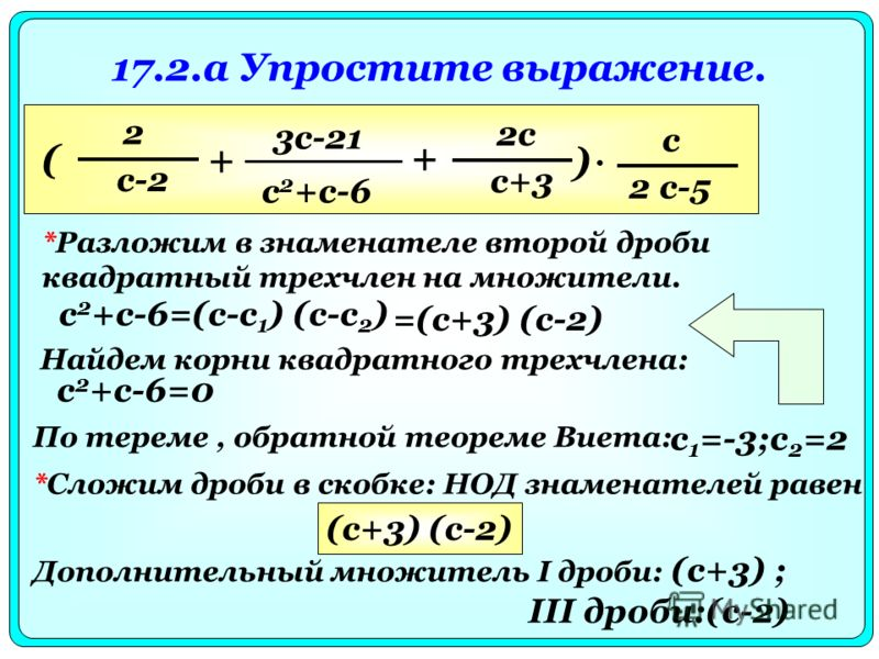 17.2.a Упростите выражение. *Разложим в знаменателе второй дроби квадратный трехчлен на множители. 2 с-2 + 3с-21 с 2 +с-6 + 2с с+3 ( ) с 2 с-5 с 2 +с-6=(с-с 1 ) (с-с 2 ) Найдем корни квадратного трехчлена: с 2 +с-6=0 По тереме, обратной теореме Виета