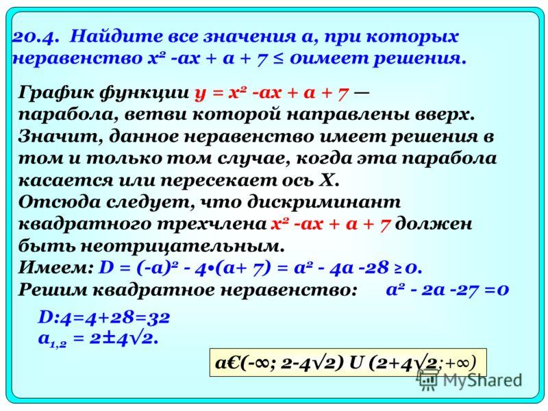 20.4. Найдите все значения а, при которых неравенство х 2 -аx + a + 7 0имеет решения. a 2 - 2а -27 =0 D:4=4+28=32 a 1,2 = 2±42. a(-; 2-42) U (2+42;+) График функции у = х 2 -ax + a + 7 парабола, ветви которой направлены вверх. Значит, данное неравенс