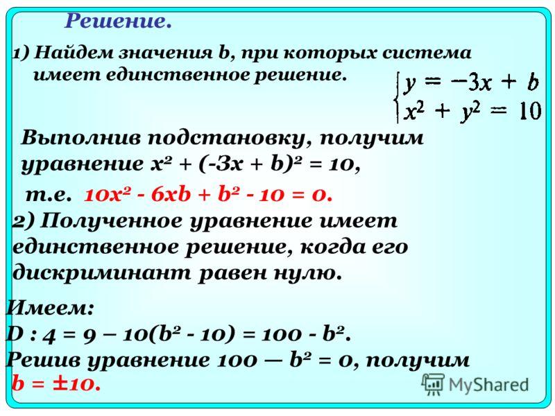 1) Найдем значения b, при которых система имеет единственное решение. Решение. Выполнив подстановку, получим уравнение х 2 + (-Зх + b) 2 = 10, 2) Полученное уравнение имеет единственное решение, когда его дискриминант равен нулю. т.е. 10x 2 - 6xb + b