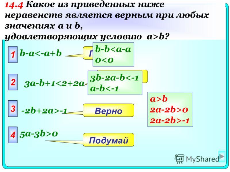1 b-a0 14.4 Какое из приведенных ниже неравенств является верным при любых значениях a и b, удовлетворяющих условию a>b? a>b 2a-2b>0 2a-2b>-1 b-b