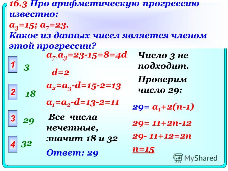 16.3 Про арифметическую прогрессию известно: a 3 =15; a 7 =23. Какое из данных чисел является членом этой прогрессии? 1 3 2 3 4 18 29 32 a 7- a 3 =23-15=8=4d d=2 a 2 =a 3 -d=15-2=13 a 1 =a 2 -d=13-2=11 Все числа нечетные, значит 18 и 32 Число 3 не по