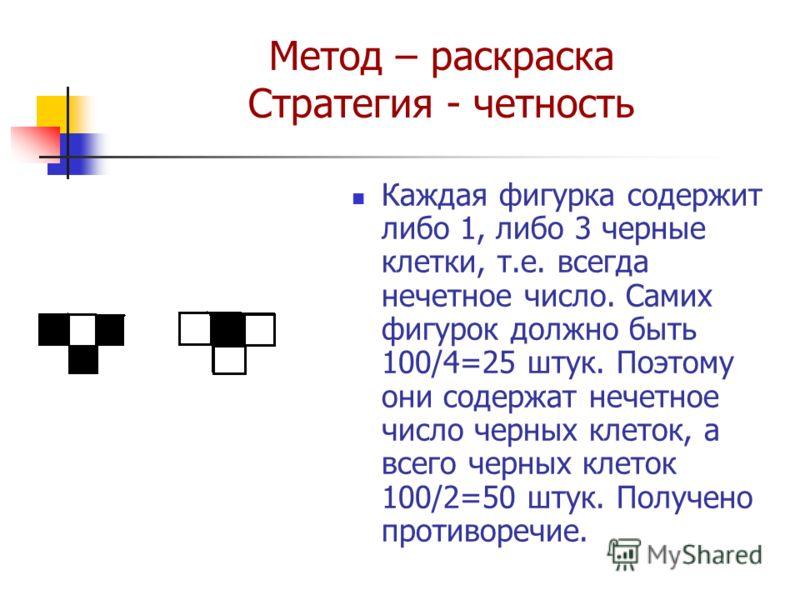 Метод – раскраска Стратегия - четность Каждая фигурка содержит либо 1, либо 3 черные клетки, т.е. всегда нечетное число. Самих фигурок должно быть 100/4=25 штук. Поэтому они содержат нечетное число черных клеток, а всего черных клеток 100/2=50 штук.