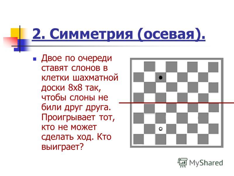 2. Симметрия (осевая). Двое по очереди ставят слонов в клетки шахматной доски 8x8 так, чтобы слоны не били друг друга. Проигрывает тот, кто не может сделать ход. Кто выиграет?