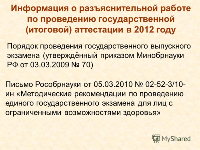 Информация о разъяснительной работе по проведению государственной (итоговой) аттестации в 2012 году Порядок проведения государственного выпускного экзамена (утверждённый приказом Минобрнауки РФ от 03.03.2009 70) Письмо Рособрнауки от 05.03.2010 02-52