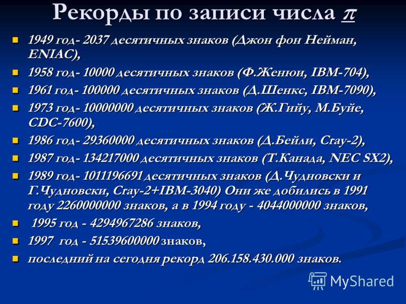 Рекорды по записи числа π 1949 год- 2037 десятичных знаков (Джон фон Нейман, ENIAC), 1949 год- 2037 десятичных знаков (Джон фон Нейман, ENIAC), 1958 год- 10000 десятичных знаков (Ф.Женюи, IBM-704), 1958 год- 10000 десятичных знаков (Ф.Женюи, IBM-704)