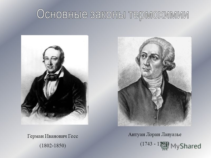 Герман Иванович Гесс (1802-1850) Антуан Лоран Лавуазье (1743 - 1794)