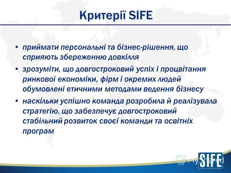 Критерії SIFE приймати персональні та бізнес-рішення, що сприяють збереженню довкілля зрозуміти, що довгостроковий успіх і процвітання ринкової економіки, фірм і окремих людей обумовлені етичними методами ведення бізнесу наскільки успішно команда роз